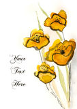 Yellow hand-painted flowers Stock Photos