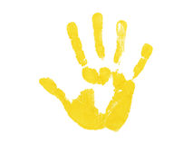 Yellow hand print. Isolated over white background Stock Images