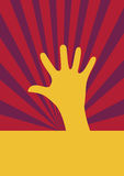 Yellow hand stretching upward. In colorful striped background Royalty Free Stock Photography