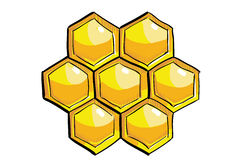 Yellow handdrawn honeycomb Royalty Free Stock Images