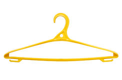 Yellow hangers for clothes. Isolated on white, single object Stock Images
