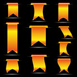 Yellow hanging curved ribbon banners set eps10 Royalty Free Stock Images