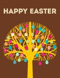 Yellow Happy Easter tree greeting card with eggs Royalty Free Stock Image