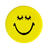 Yellow happy face button Stock Photo
