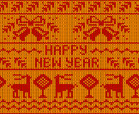Yellow Happy New Year Jumper seamless knitted Pattern with deers. Royalty Free Stock Photos