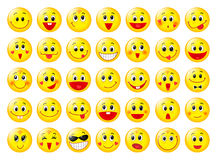Yellow happy round emoticon faces vector set Royalty Free Stock Image