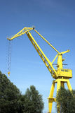 Yellow harbor crane Royalty Free Stock Photos