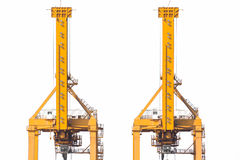 Yellow harbor cranes in shipyard isolate on white background.  Royalty Free Stock Photography