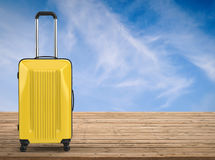 Yellow hard case luggage Royalty Free Stock Images