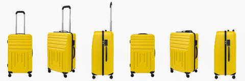 Yellow hard case luggage isolated on white Stock Image