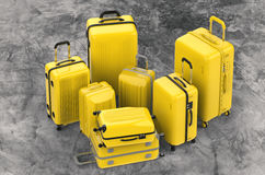 Yellow hard case luggages Stock Photos