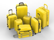Yellow hard case luggages Royalty Free Stock Photography