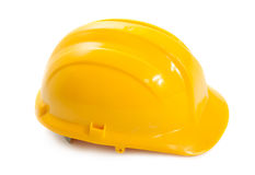 Yellow hard construction hat Stock Images