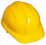 Yellow hard hat. Close up of bright yellow hard hat isolated on white background Stock Image