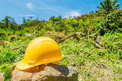 Yellow hard hat with a coffee plantation farm in Stock Photos