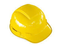 Yellow hard hat of construction worker isolated Royalty Free Stock Photos