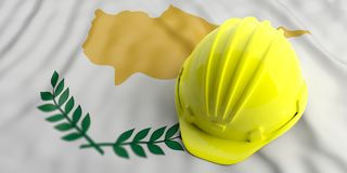 Yellow hard hat on Cyprus waving flag background. 3d illustration. Construction industry in Cyprus. Yellow hard hat on Cyprus waving flag background. 3d Royalty Free Stock Photos