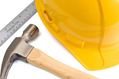 Yellow Hard Hat Hammer And Ruler Royalty Free Stock Photos