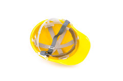 Yellow hard hat inside Stock Photos