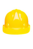 Yellow hard hat isolated on white Royalty Free Stock Photo