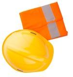 Yellow Hard Hat and Orange Vest III. Yellow hard hat and orange reflective vest over white background Stock Photo