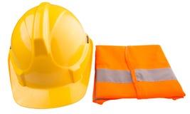 Yellow Hard Hat and Orange Vest IV. Yellow hard hat and orange reflective vest over white background Stock Photos