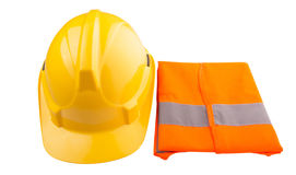 Yellow Hard Hat and Orange Vest VI. Yellow hard hat and orange reflective vest over white background Stock Image