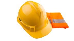 Yellow Hard Hat and Orange Vest VII. Yellow hard hat and orange reflective vest over white background Stock Photography