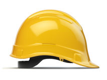 Yellow hard hat, safety helmet isolated on white Stock Images