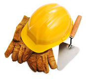 Yellow hard hat and tools Stock Photos