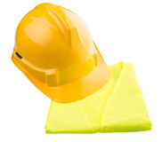 Yellow Hard Hat and Yellow Vest I. Yellow hard hat and yellow reflective best over white background Royalty Free Stock Images