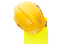 Yellow Hard Hat and Yellow Vest VIII. Yellow hard hat and yellow reflective best over white background Royalty Free Stock Photography
