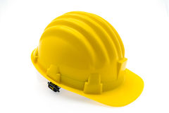 Yellow Hard Plastic Construction Helmet On White Background . Royalty Free Stock Photo