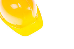 Yellow Hardhat And Copy Space. Yellow Hardhat isolated on White And Copy Space Stock Photo