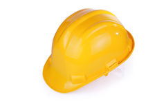 Yellow hardhat isolated with clipping path Stock Image