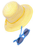 Yellow Hat with Blue Sunglasses Royalty Free Stock Image
