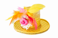 Yellow hat with feather Royalty Free Stock Photo