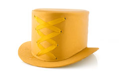 Yellow hat with ribbon stock photos