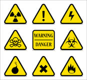 Yellow Hazard Signs With Shadow Royalty Free Stock Photos