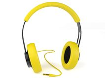 Yellow headphones 3D. Icon. Royalty Free Stock Image