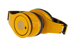 Yellow headphones isolated on a white background. Stock Photography