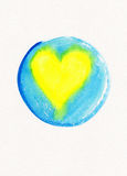 Yellow heart in blue circle frame watercolor painting Royalty Free Stock Photography