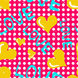 Yellow heart and an inscription love seamless pattern Royalty Free Stock Images