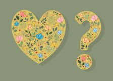 Yellow Heart and Question Mark. With folk floral decor - watercolor flowers, plants and hearts. Vector Illustration Stock Photo
