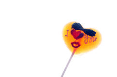 Yellow  heart shape lolly pop Royalty Free Stock Photo