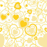 Yellow Heart shape seamless background. Template valentine greeting card Royalty Free Stock Photos