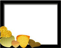Yellow hearts. Black border with yellow hearts Stock Images