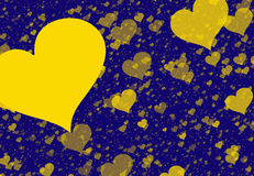 Yellow hearts backgrounds of Love symbol Stock Images