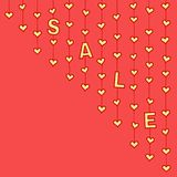 Yellow hearts and letters Â«SALE» hanging on strings on red background. Yellow hearts and letters «SALE» hanging on strings on red background. Vector royalty free illustration