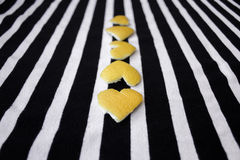 Yellow hearts in line. Royalty Free Stock Photos
